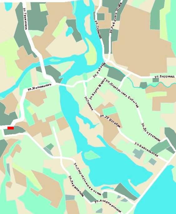 На карте города расположение